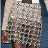 Chran Rhinestone Chain Skirt Exotic Lingerie Disco Partry Mini Dress Beach Cover Up Chain Necklace Bra
