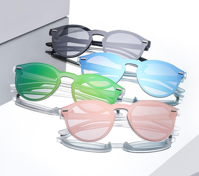 47f59226b1753 Jim Halo One Piece Polarized Rimless Club Round Sunglasses Flash ...