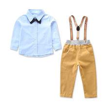 Little Boys Gentleman Shirt Clothes Sets Toddler Baby Boy Bowknot Overall Outfits Clothing Set Formal Suit 2-7T 2019 цена в Москве и Питере