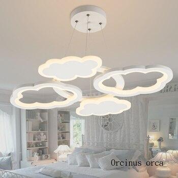 Nordic modern minimalist cloud โคมระย้า nursery เด็กไฟการ์ตูนความคิดสร้างสรรค์ LED cloud โคมระย้าจัดส่งฟรี