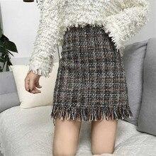 2018 Women Woolen Mini Skirt Autumn Winter Vintage Straight Plaid Tassel Skater Skirt High Waist Femininas Skirts For Womens