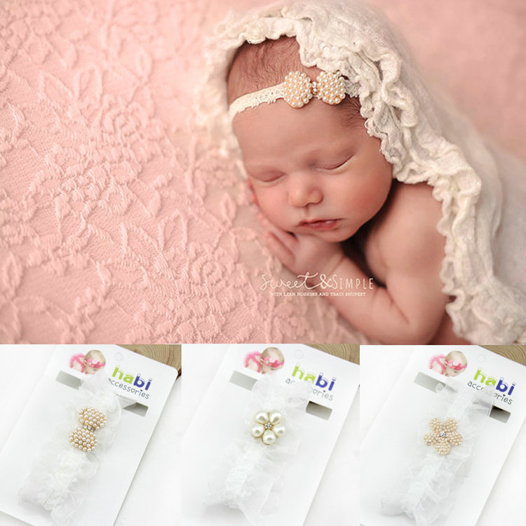 New born Infant Baby Princess Lace Rhinestone Newborn Baby Headband girls kids hair Accessories