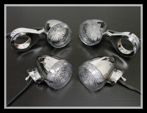CHROME 39MM TURN SIGNAL  FORK CLAMPS AND HARDWARE 4 HARLEY DYNA SPORTSTER