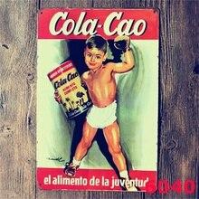 Cao Cola Póster Artístico de pared carteles de hojalata vintage pintura hogar Bar decoración 20x30CM