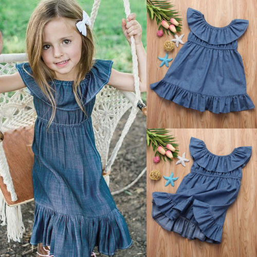 Cute Toddler Kids Baby Girl Sleeveless Long Dress Princess Pageant Party Dresses