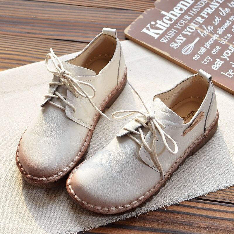 Beige Sauvage Chaussures Nouveau Casual Coréenne Rétro Single Fille apricot Cuir Femme Plat Art marron Étudiants noir Véritable En Belle Automne 6w4aaz