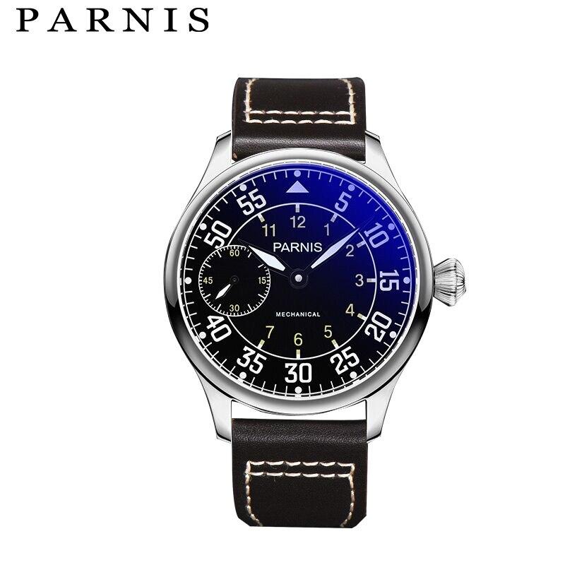 лучшая цена Casual Parnis Mechanical Watches Fashion Men Watch 44mm Hand Winding Black Dial White Mark Genuine Leather Strap