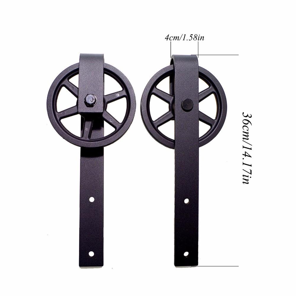 LWZH 10ft/11ft/12ft/12.6ft/ Long Vintage Strap Industrial Big Wheel Sliding Barn Wood Door Hardware Track Kit for Double Door
