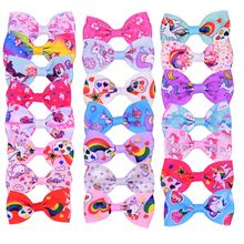 2 Pcs Unicorn Print Grosgrain Bows Hair Clips Kid Boutique Gift Hair Accessories