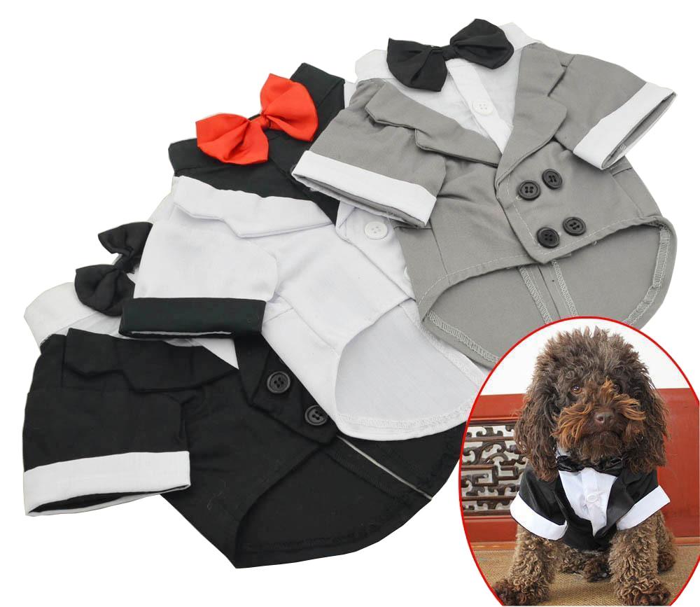 2018 جديد جرو كلب الملابس قميص الزفاف سهرة النمط الغربي دعوى مع القوس التعادل الملابس الملابس للكلاب معطف شحن مجاني