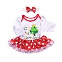 2pcs Infant Toddler Baby Girl Christmas Tree Boot Print Infant Toddler Dress Long Sleeve Polka Dot