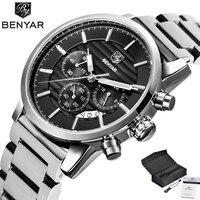 BENYAR Quartz Stainless Steel Gift Box Military Men Wrist Watch Outdoor Pilot Stops Chronograph Sport Date