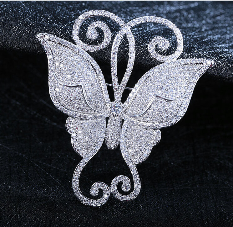 SINZRY JEWELRY White cut cubic zircon micro paved butterfly scarves buckle women brooches pin