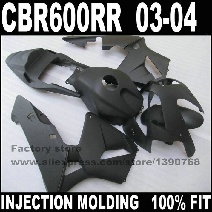 ABS road injection factory fairings set for  CBR 600 RR  03 04  CBR600RR 2003 2004 matte black fairing kits bodywork injection molded fairing kit for honda cbr600rr 03 04 cbr600 cbr600rr f5 2003 2004 complete matte black abs fairings set zq15