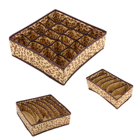 3PC/Set Non-Woven Fabric Leopard Pattern Underwear Storage Box Waterprool Clothing Organizer Case Bra Socks For Home Bedroom
