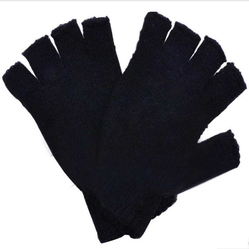 New Arrive 1 Pair Men Winter Elastic Knitted Stretch Fingerless Gloves Black Wholesale Hot Sale