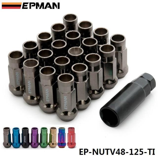 EPMAN Racing V48 20 UNIDS TUNER TUERCAS de RUEDAS EXTENDIDA EXTREMO ABIERTO/12X1.25 de TITANIO EP-NUTV48-125-TI