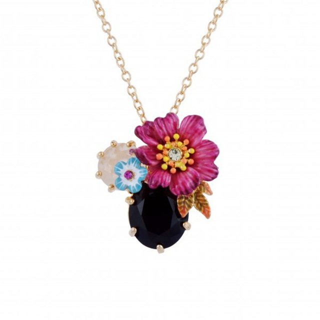 Les Nereides Simple Elegant Flower Gem Pendant Necklaces For Women Good Gift High Quality