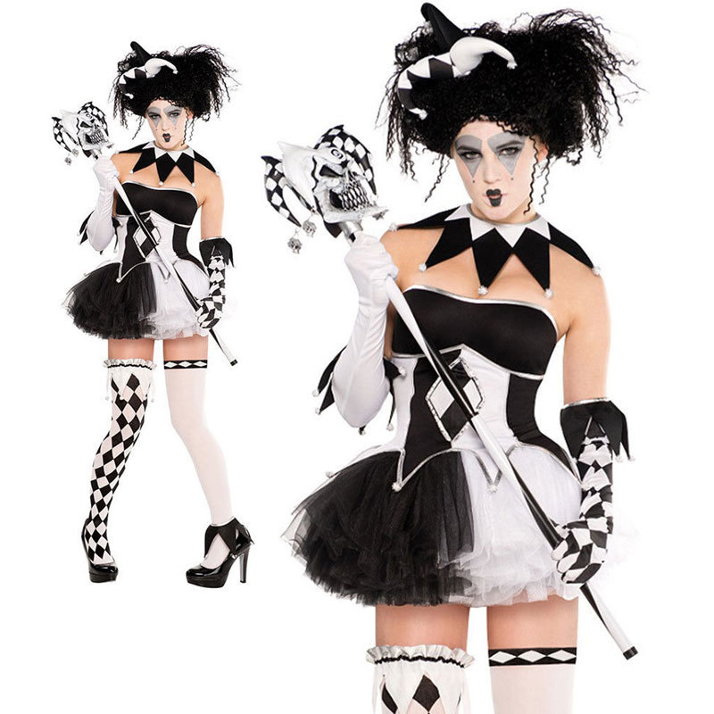 Ladies Tricksterina Jester Halloween Clown Costume Fancy Dress-in Scary Costumes from Novelty u0026 Special Use on Aliexpress.com | Alibaba Group  sc 1 st  AliExpress.com & Ladies Tricksterina Jester Halloween Clown Costume Fancy Dress-in ...