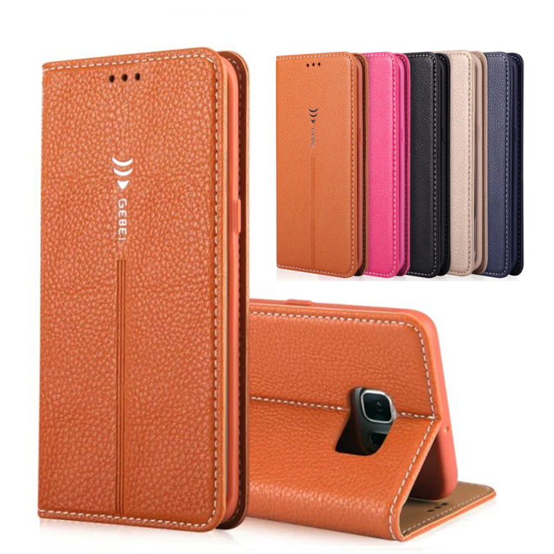 Hot Top Genuine Magnetic Flip Leather Case for samsung galaxy s6 edge case S6 S6 edge