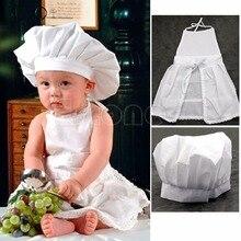 KLV Linda forma blanca de disfraz de cocinero utilería para fotografías sombrero de niño delantal niños Chef uniforme de camarera