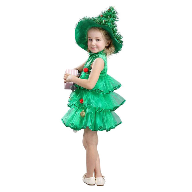 ABWE Best Sale Baby Girl Sleeveless Dresses Children Green Clothes Christmas Halloween Costumes Christmas Tree Dress and Witch abwe best sale fantastic wooden easel magnetic doodle drawing board drawing blackboard toy for children