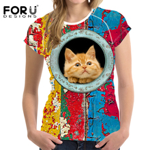 FORUDESIGNS 2018 T-shirt Women Fashion Tops 3D Funny Dog Print t-shirt Women's 3D Cat T Shirts Casual Tshirts Ladies Clothing XL