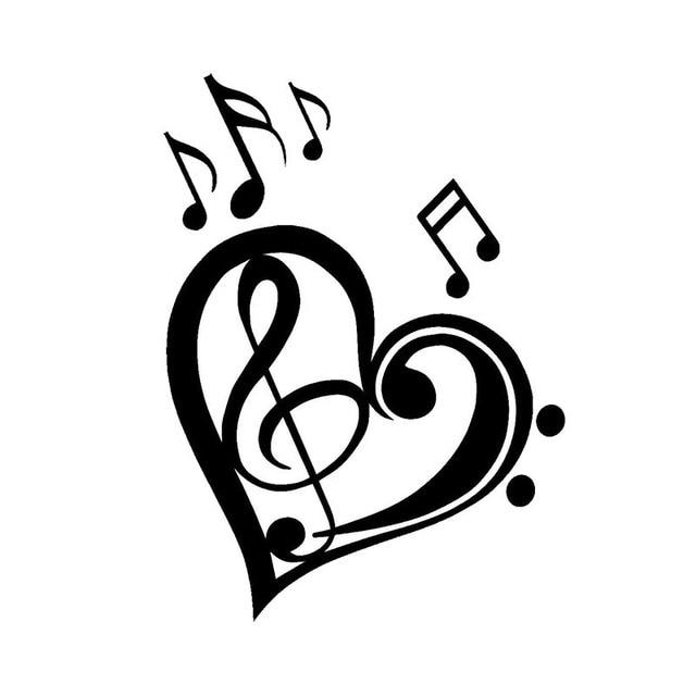 Dessin Note De Musique 13*17.7 cm mignon amour musique notes autocollant dessin animé moto