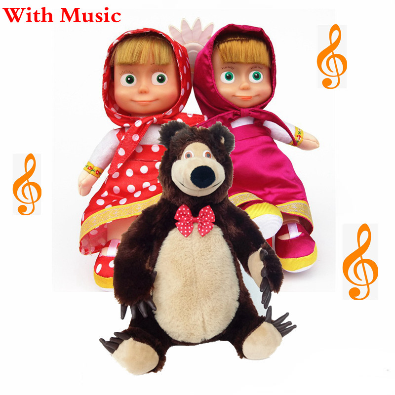 Masha And Bear Toys With Music Masha Stuffed Plush Toys Masha Y El Oso Juguetes For Kids Children Babies Gifts-in Stuffed & Plush Animals from Toys & Hobbies