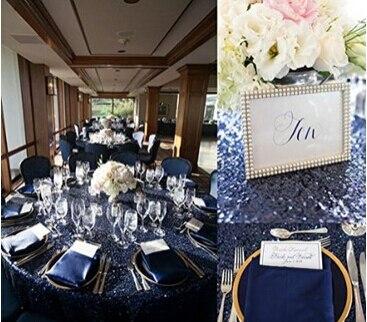 Beau Navy Sequin Tablecloth Or Navy Sequin Glitz Linen Or Overlay(90u0027u0027*132