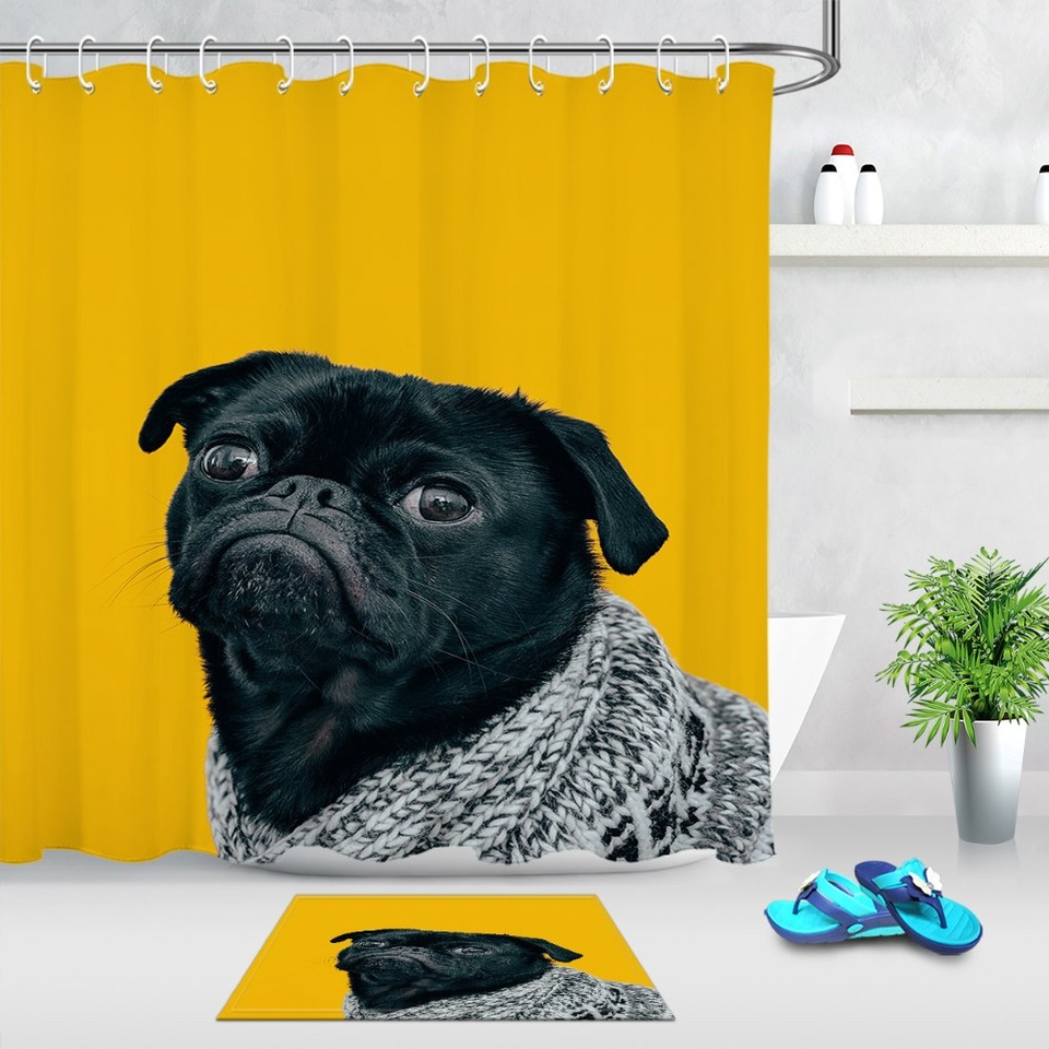 Cute Pug Dog Shower Curtain With Mat Set Animal Extra Long Waterproof Eco Friendly Bathroom Polyester Fabric For Bathtub Decor Shower Curtains Aliexpress