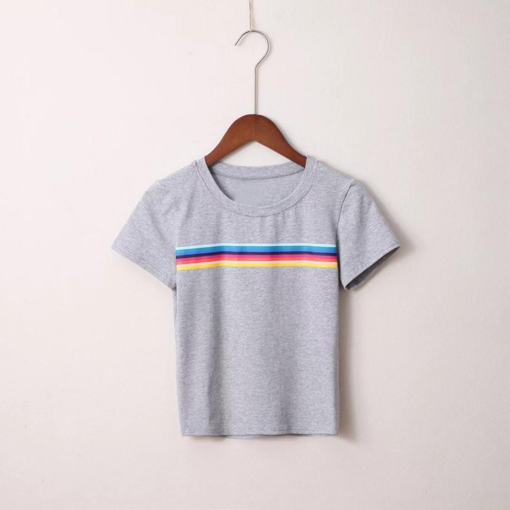 HTB18X3RPVXXXXacaXXXq6xXFXXXy - Rainbow Stripes Crop T-shirt PTC 141