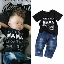 Newborn Toddler Infant Clothing,Cool Baby Boy Clothes outfits,Baby kids T-shirt Top Tee +Ripped Jeans Denim Pants Outfits Set newborn denim single breasted 3pcs set coat t shirt jeans bebes baby boy newborn baby clothes full sleeve baby boy clothes