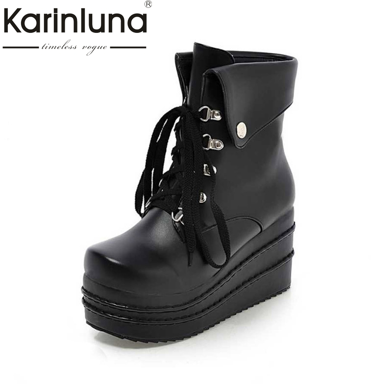 Plus size 34-42 fashion Women Ankle  Bootslace up high wedges Skid-proof Shoes Woman Autrumn Winter fur addable platform Boots size 34 42 high quality women knee boots add fur buckle charm thick heels fashion winter boots platform skid proof shoes woman