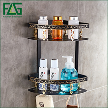 FLG Bathroom Shelves Dual Tier Wall Corner Mounted Storage Basket Rack Holder Hooks Space Aluminum black Bathroom Accessories стоимость