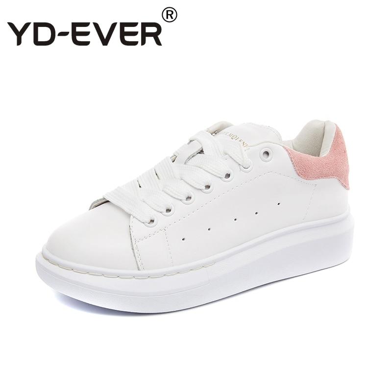 Black Plate Cuir Appartements Respirant Véritable forme Femmes Yd Occasionnels Automne Lace Chaussures Sneakers Printemps En pink ever Up Blanc qStT0