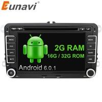 Eunavi 2 din 7 ''Quad Core android 6.0 auto dvd radio speler 2din gps Voor VW Skoda POLO PASSAT B6 CC TIGUAN GOLF 5 Fabia wifi RDS