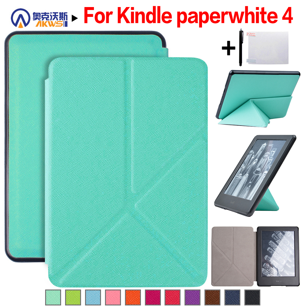 Walkers Thin Smart Cover Origami Case for New Amazon Kindle Paperwhite 4 (2018 Release) 6'' E-reader + Stylus + Film