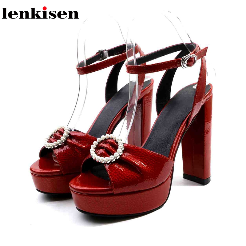 Lenkisen new full grain leather circular pearl buckle super high heels korean girl waterproof platform dating