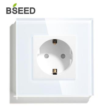 BSEED EU Standard Wall Socket White Black Golden Single Mirror Crystal Glass Panel Plug Electrical Outlet For Home Improvement 1