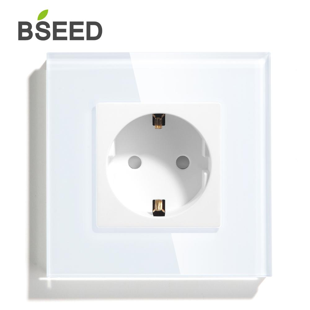 BSEED EU Standard 16A Wall Socket White Black Gold Single Mirror Crystal Glass Panel Plug Electrical Outlet For Home Improvemet