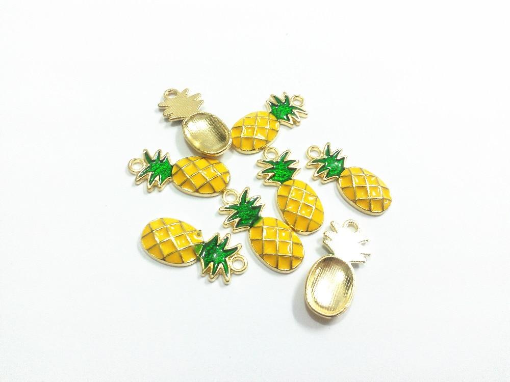 Wholesale 25mm*12mm 30pcs/lot Gold All Enamel Pineapple Charms Pendants
