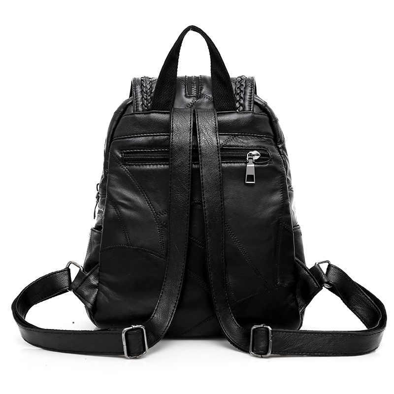 100% Echt lederen Grote capaciteit rugzak voor vrouwen weven kwastje schapenvacht reistas sac transport bag pack voor laptop mobiele