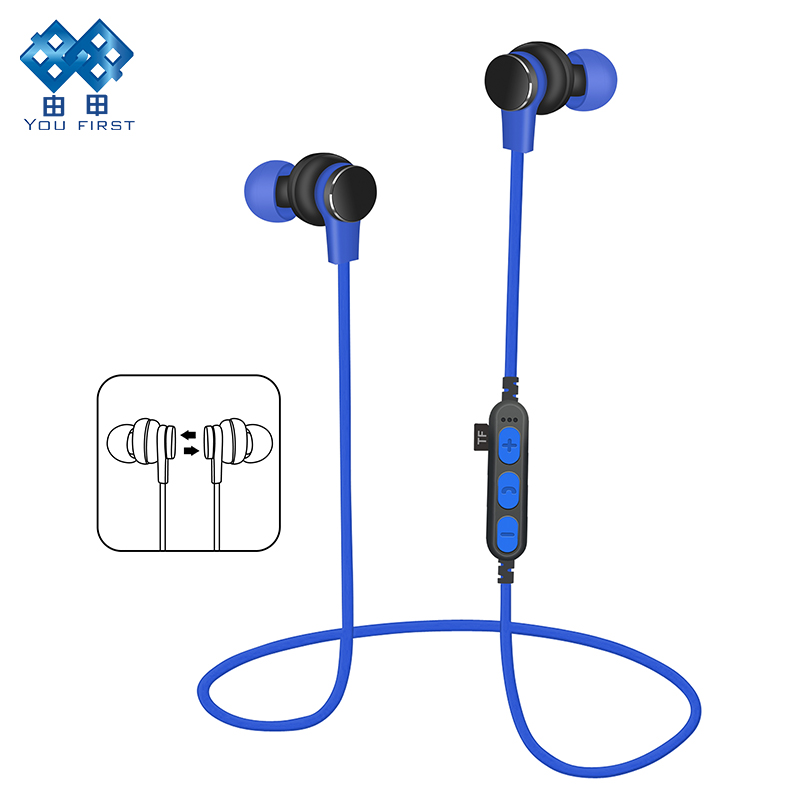 YOU FIRST TF Card Earphone Bluetooth Metal Magnet In Ear Bluetooth Earphones Wireless Sports Running Handsfree With Microphone
