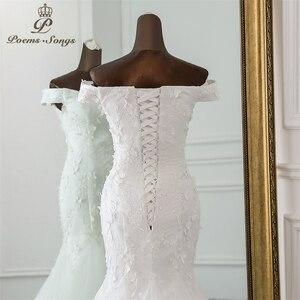 Image 5 - PoemsSongs New style beautiful three dimensional flower lace wedding dress 2020 Vestido de noiva Mermaid dress robe de mariee