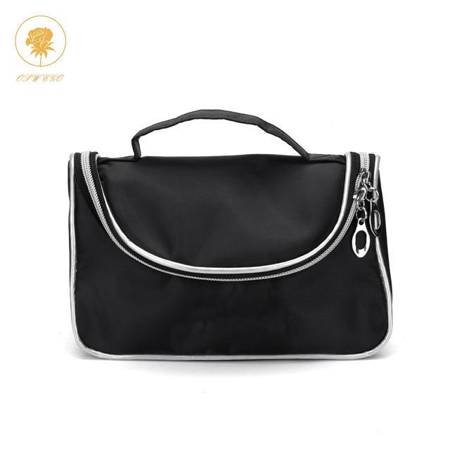 Oswego Cosmetics Bag Black Fashion Zipper Multifunction Large Makeup Portable Organizer Handbags Travel