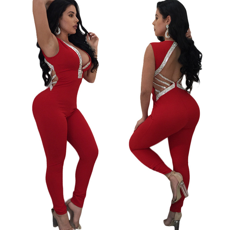 842bd9ab5b24 Deep V Neck Skinny Backless Jumpsuit Women Sexy Sleeveless Red Black  Bodycon Glitter Romper Ladies Long