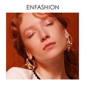 Image 5 - ENFASHION Punk Pearl Double C Hoop Earrings For Women Gold Color Big Statement Earings Fashion Jewelry Pendientes Aro EC191042