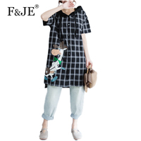 F&JE 2017 Summer New Fashion Korean Style Women Short sleeve Loose plaid Blouse High Quality cotton linen Casual Hooded Shirt 51