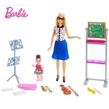 Original Barbie Dolls Brand FXP18 Music Teacher Doll Playset simulated scene Girls toy gift box Fashion Birthday bonecas